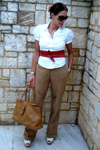 white fitted Prada shirt - camel leather Uterque pants - red wrap Zara belt