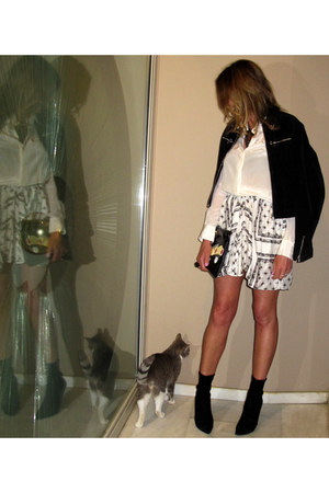 black Casadei boots - ivory Zara shirt - black Prada bag - Zara skirt
