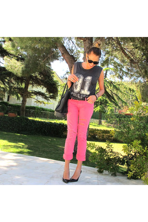 gray Zara blouse - bubble gum abercrombie and fitch jeans - black Celine bag