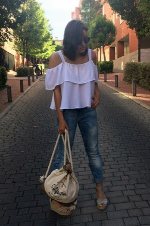 Sfera top - c&a jeans - Primark bag - Mango sunglasses - Springfield wedges