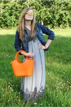 orange bag - silver dress - blue blazer - light yellow sunglasses
