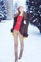 tan boots - crimson coat - carrot orange blouse