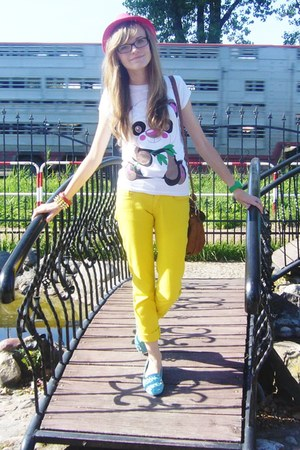 white t-shirt - hot pink hat - yellow pants - sky blue loafers