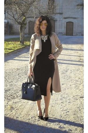Bijoux pour Tous coat - Breskha dress - Hermes bag - Stradivarius heels