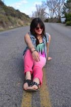 black fringe PacSun swimwear - bubble gum ombre Aeropostale jeans