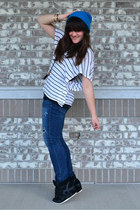 blue Rue 21 hat - white stripes DEBS shirt - black go jane sneakers