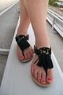 Blue-chiffon-hi-low-babassu-blouse-black-tassels-city-classified-sandals