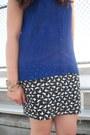 Black-tassels-city-classified-sandals-blue-chiffon-hi-low-babassu-blouse