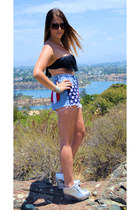 blue american flag DIY shorts - black fringe top LSpace swimwear