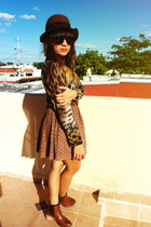 tawny Blessed saturday blouse - brown Zara boots - brown H&M hat