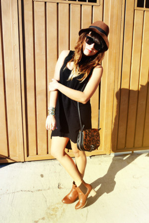 dark brown H&M hat - tawny Zara boots - black pull&bear dress