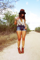 tawny Zara boots - dark brown H&M hat - blue Berhska shorts - camel vintage top