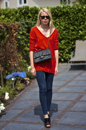 red asos sweater - black Chanel bag - black ray-ban sunglasses