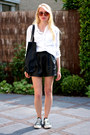 White-linen-h-m-shirt-black-faux-leather-topshop-bag