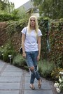 Blue-chicy-jeans-white-asos-t-shirt