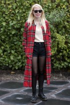 black Dr Martens boots - red River Island coat - black Levis shorts