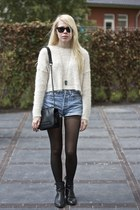 white fluffy cropped asos sweater - black chain Nelly bag