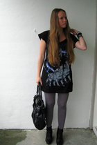 Cubus dress - DinSko boots - pieces tights - Marc by Marc Jacobs purse