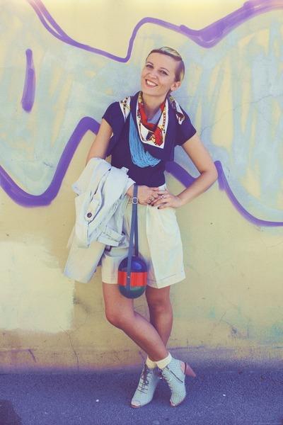 light blue shoes - beige shorts - navy blouse