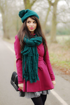 asos coat - prima moda shoes - Topshop hat - Topshop scarf - H&amp;M skirt