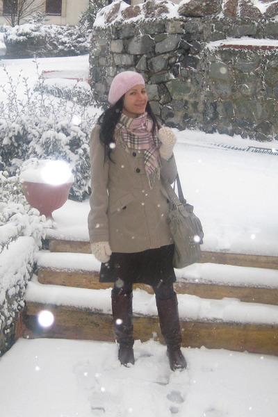new look coat - Burberry scarf - Dorothy Perkins bag