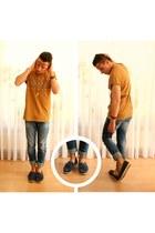 navy asos jeans - navy asos loafers - bronze Esprit t-shirt