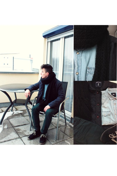black suede asos boots - gray wool Shore Leave jacket