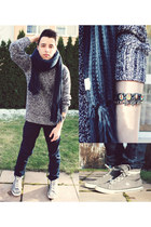 navy H&M scarf - navy asos jeans - heather gray Converse sneakers