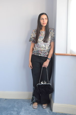 silver Oasis top - silver BHS flats - black asos pants