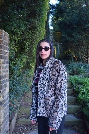 beige Oliver Bonas coat - gray bootcut Principles Petite by Ben De Lisi pants
