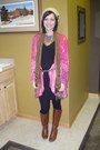 Brown-target-boots-black-the-hanger-leggings-black-hearbreaker-dress-pink-