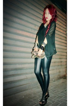black sheer H&M shirt - black leather pants 5th Avenue tights