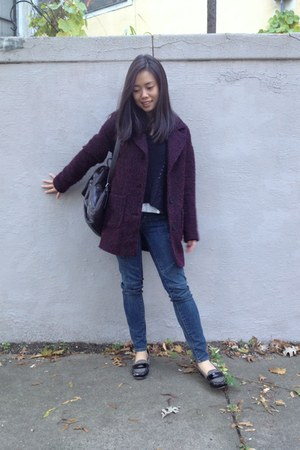 crimson H&M coat - American Eagle jeans - black Converse sweater