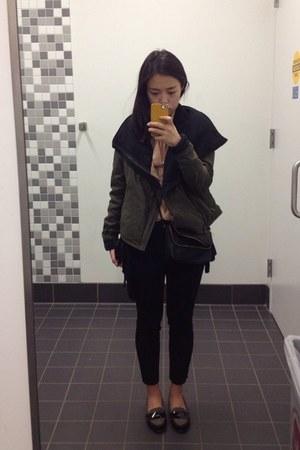 olive green BCBG jacket - black H&M bag - black banana republic pants