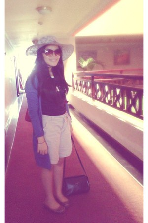 hat - sarne bag - Nevada shorts - Nevada cardigan - glasses - Polo blouse