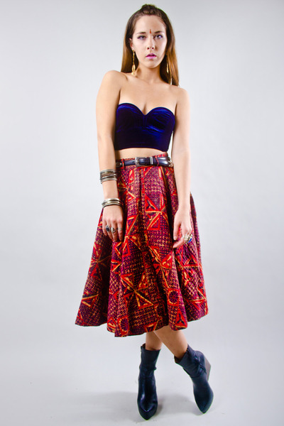quilted circle vintage skirt