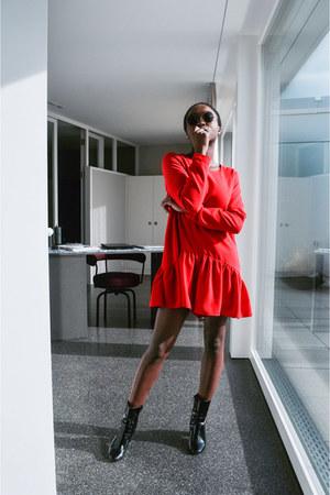 red red romper dress