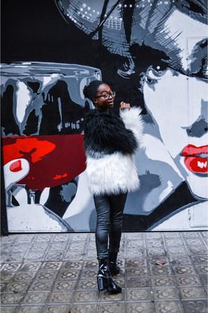 black faux fur zaful jacket