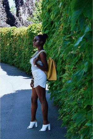 white Forever 21 skirt - yellow backpack Zara bag