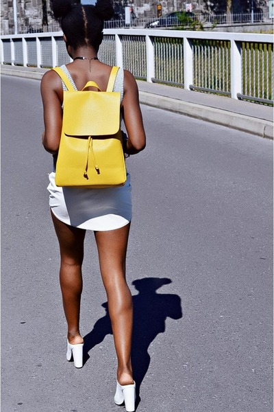 yellow backpack Zara bag