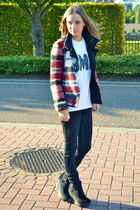Zara jacket - Cheap Monday boots - Topshop t-shirt
