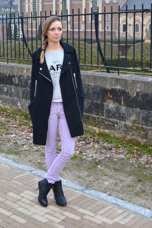 asos coat - Urban Outfitters boots - asos pants - Mango sweatshirt