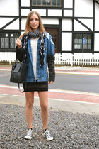asos jacket - Zara bag - H&M top - Converse sneakers - asos skirt