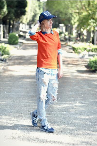 asos t-shirt - One Teaspoon jeans - Filles a papa hat - Zara blouse