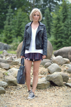 Zara jacket - Marc by Marc Jacobs bag - Zara shorts - Converse sneakers