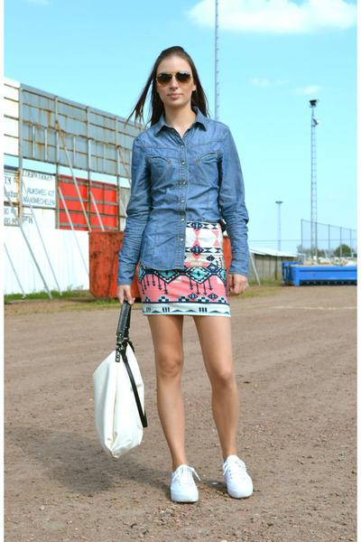 Bershka skirt - Zara shirt - Zara bag - Ray Ban sunglasses - asos sneakers