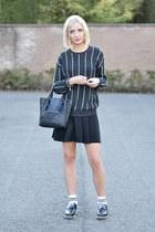 Zara shoes - Mango sweater - asos socks - h&m divided skirt