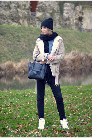 Zara jeans - Nelly hat - Zara shirt - H&M scarf - Zara bag - nike wedges