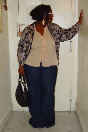 thrift blouse - vintage jacket - oldnavy jeans - Nina shoes