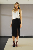 black H&M Trend skirt - white cut out & other stories top